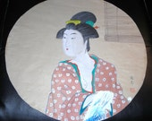 Vintage Japanese Woodblock Print  Geisha On Parchment Paper........Adult Art  Courtesan