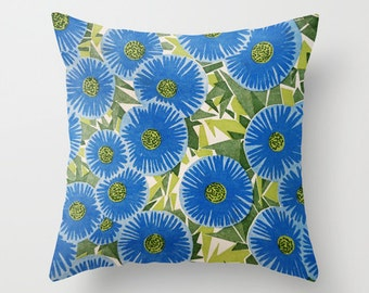 Atomic Daisies, pillow cover, cushion, mid-century, flowers, blue, green, geometric, retro, flower power, rustic, Lesvos, Greece