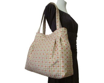 109- bag, purse,color beige (with spots orange and green) handmade