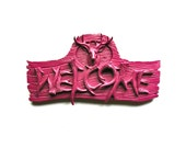 Deer WELCOME Sign in deep raspberry Faux animal faux antlers