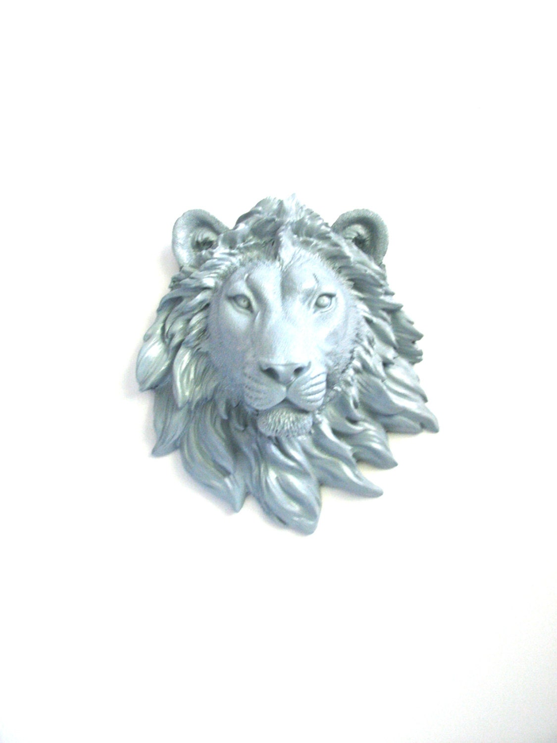 Small faux taxidermy lite grey lion animal head wall decor for Animal head wall decoration