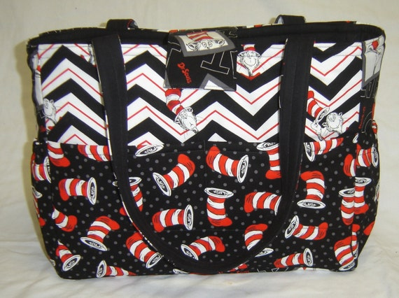 Black And White Dr Seuss Cat In The Hat Diaper Bag
