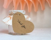 25 Kraft Heart Tags on Card stock with twine hand stamped thank you - Large size with 1.77inch x 3.77inch
