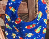 TODDLER or NEWBORN Bib: Rocket Ships to the Moon on Blue, Personalization Available