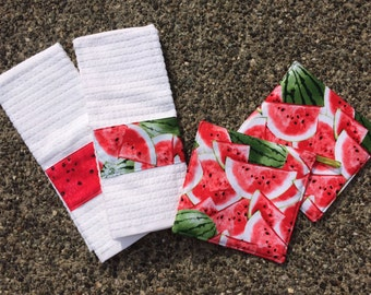 Hand Towel and Pot Holder Set - Watermelons Galore