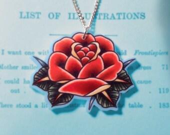 Traditional Red Rose Tattoo-Art Jewellery Pendant