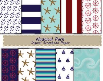 Nautical Pack Digital Scrapbook paper