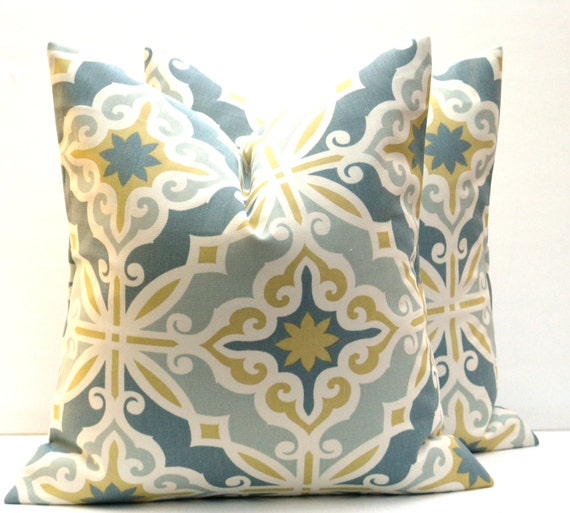 Items similar to Decorative Pillow cover yellow blue Pillows Accent Blue Gold Pillow. Home Decor ...