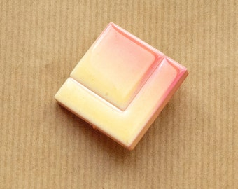 Geo Brooch Plastic Vintage Pin Geometric Plastic Square Retro