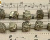 20 pcs of Iron pyrite rough nugget cube beads,golden brass beads 6-8mm