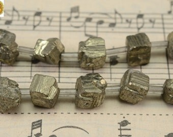 20 pcs of Iron pyrite rough nugget cube beads,golden brass beads 6-8mm