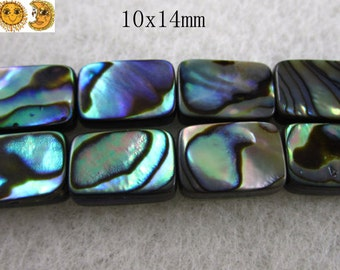 15 inch strand of Abalone shell smooth flat rectangle beads,oblong shap 10x14mm