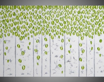 Silver Birch tree painting Abstract Modern Acrylic Painting Wall Art Textured White Silver Olive green Modern 48x24 Made to Order