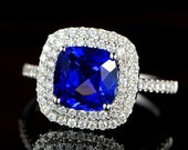 Engagement Ring -  2.5 Carat Tanzanite Engagement Ring With Diamonds In 14K White Gold