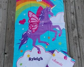 Unicorn Personalized Beach Towel, Gift for Girl, Summer Kids Beach Towel, Birthday gift, Monogrammed Towel, Personalized Towel