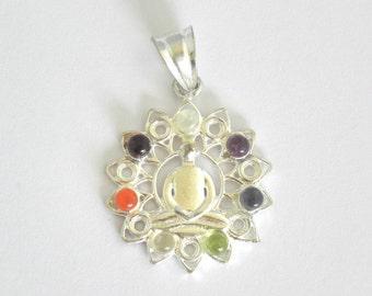 7 Chakra stone set buddha pendant