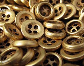 12pcs | Dull Gold - 10.1mm - CS4B-BA101 - Copper 4-hole Sewing Button