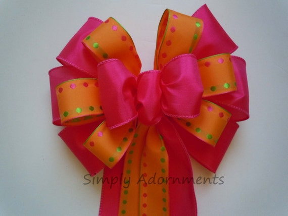 Pink Orange Wedding Pew Bow Church Aisle Pew Decoration Birthday Shower Party Cake Table Decor Graduation Party Decoration