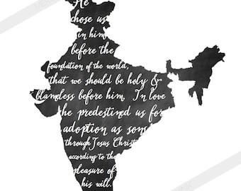 INDIA Adoption Art Print // Chalkboard or Watercolor Verse // Christian Scripture Art Print // Ephesians 1