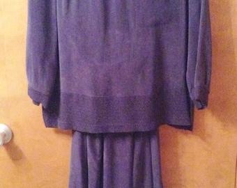 2 Piece navy blue rayon dress.