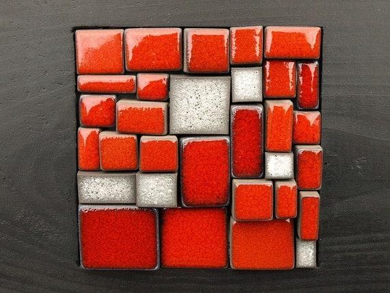 Art culos similares a mosaico rojo y gris piedra mural de - Murales de madera ...