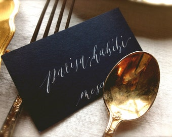 Wedding Calligraphy Escort Card, Place Card for Wedding Reception, Modern Font by Calligrapher