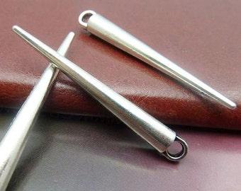10PCS antique silver 6x52mm needle charm pendant- XC5637