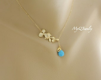 Gold Lariat Birthstone Necklace, Birthstone Initial Necklace, Bridesmaid Birthstone Jewelry, Bridesmaid Gifts, Orchid Wedding Jewelry