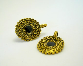 gold and black charm/pendant - gold tone with black enamel 32mm (2)
