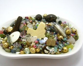 bead soup - destash - pastels and naturals - mix of sizes and shapes - 5 oz