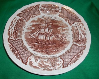 """Two (2), 10 5/8"""" Dinner Plates, from Alfred Meakin, in the Fair Winds Brown Pattern."""