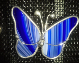 Stained glass butterfly screen bug