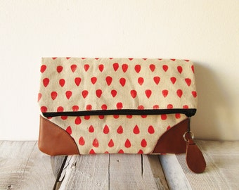 Foldover Clutch, Canvas and leather clutch, Pouch, Red, Raindrops