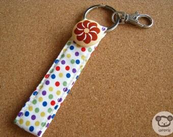 Flower, White, Keychain, key chain, poka dot, dots, girl, kid, coloful, decoration, kawaii, strap, book, cartoon, cute, clasp, ring, fun