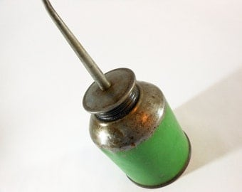 Vintage Green Metal Oil Can Industrial