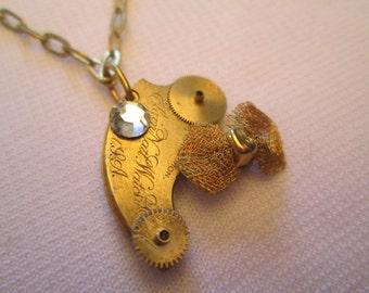 STEAMPUNK Necklace Vintage ELGIN Pocket Watch Part Bow Brass GOLD Gear Swarovski Crystal Small Pendant Handmade by DKsSteampunk