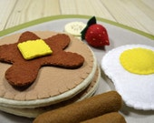 Felt Food Pancake Breakfast - Play Food Set - Pancakes, Sausages, Egg & Fruit - FiddledeeDeeCraft