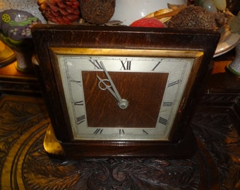 Handsome Old English non working oak clock