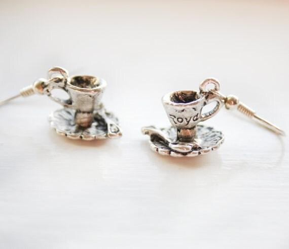 Tea cup earrings - silver (POC08) - teacup, afternoon tea, saucer, spoon, teacup jewelry