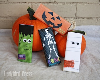 Printable Halloween Candy Bar Wrappers - Pumpkin - Mummy - Frankenstein - Skeleton - Instant download