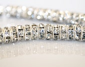 6mm Rhinestone Rondelle Spacer Bead - 100pcs - Silver Tone - Clear Crystal