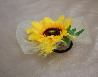 Sunflower ponytail accessory