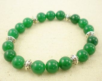 Emerald Green Quartzite and Silver Plated Stretch Bracelet / Gifts under 25