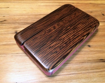 Wood Wallet, Wengé and Purple Heart, rich colors, silky smooth finish