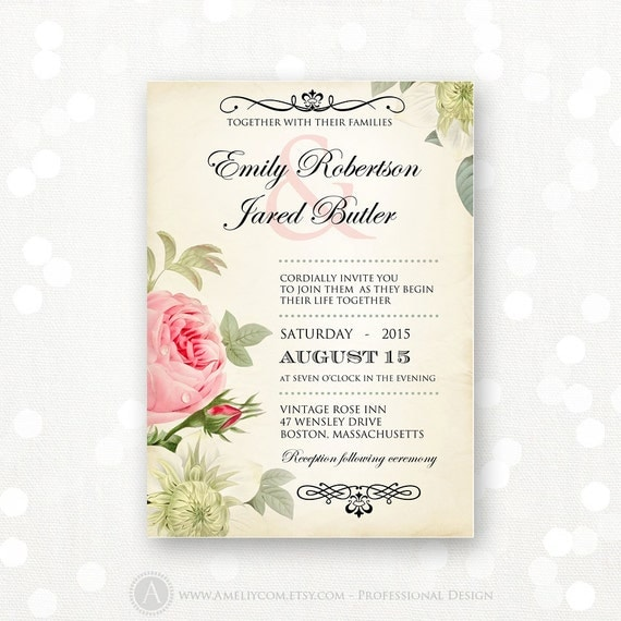 Wedding Invitations With Red Roses: Printable Wedding Invitation Pink Roses Vintage Weddings
