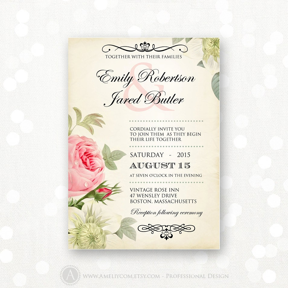 Wedding Invitations Rose: Printable Wedding Invitation Pink Roses Vintage Weddings