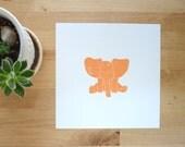 Baby animal art print Jack the Elephant orange nursery wall decor