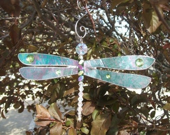 "Dazzling Dragonfly Suncatcher Ornament In Iridescent Green-Teal 7"" x 3  1/2"""
