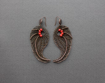 ALICE Copper Wire Crocheted Statement Large Long Earrings /Red Paisley  Unusual Modern Earrings /Boho Chic Gypsy Ethnic. Made to order