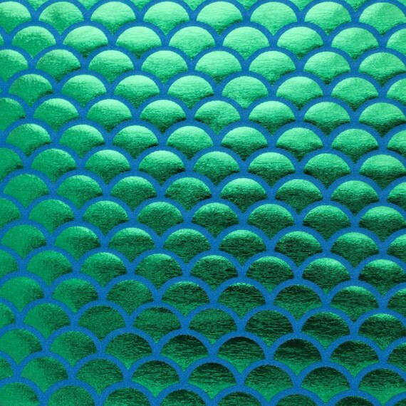 Spandex big mermaid fish scale green on blue 58 inches wide for Fish scale fabric